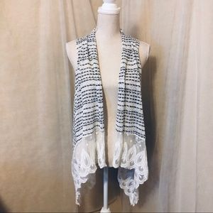 Jay Vintage Crocheted Stripes and Lace Duster